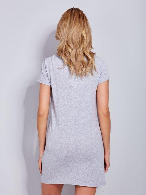 Bawełniana jasnoszara sukienka z nadrukiem                                  zdj.                                  3