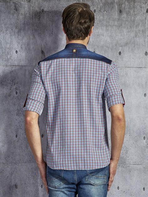 806ff1cc613e62 1; Bawełniana koszula męska w kratkę czerwono-niebieska PLUS SIZE ...