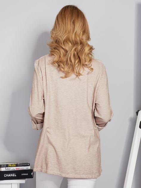 Bawełniana melanżowa bluzka beżowa                              zdj.                              2