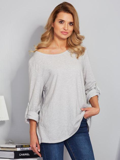 Bawełniana melanżowa bluzka jasnoszara                              zdj.                              1