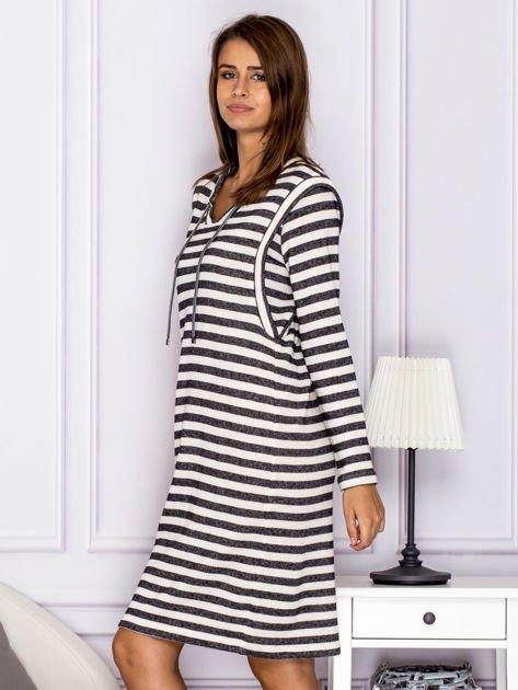 Bawełniana sukienka w paski ze sznurowaniem szara                                  zdj.                                  5