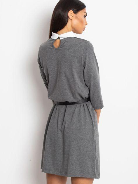 Bawełniana sukienka z kołnierzykiem ciemnoszara                              zdj.                              2
