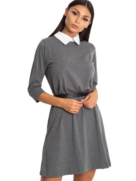 Bawełniana sukienka z kołnierzykiem ciemnoszara                              zdj.                              5