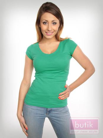 Bawełniana zielona bluzka na krótki rękaw FOR FITNESS