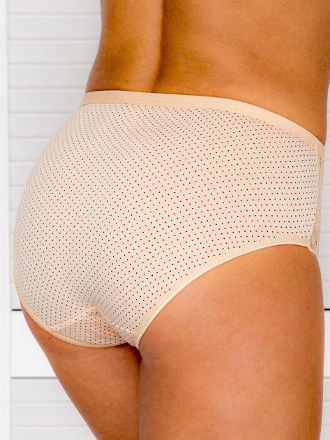Bawełniane figi damskie high waist w kropki 2-pak biało-beżowe                              zdj.                              5