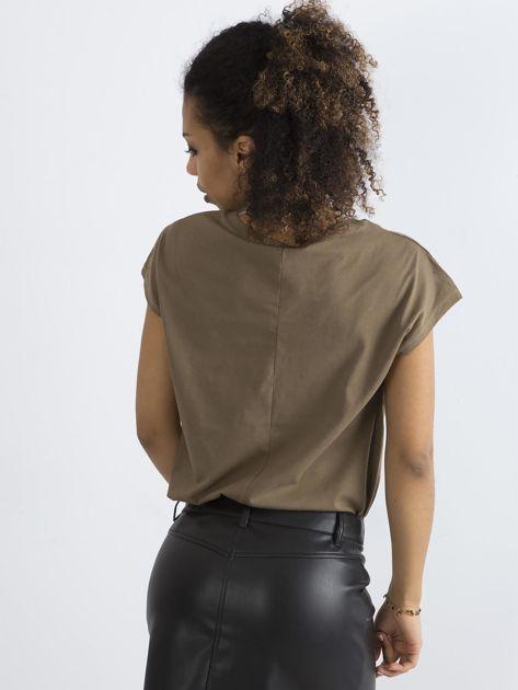 Bawełniany t-shirt khaki                              zdj.                              2