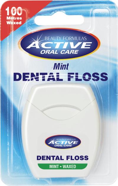 "Beauty Formulas Active Oral Care Nić dentystyczna miętowa woskowana"""