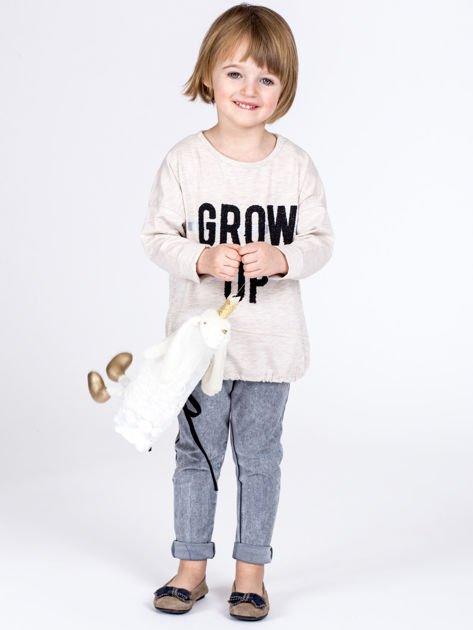 Beżowa bawełniana bluzka dziewczęca GROW UP ze ściągaczem                              zdj.                              7