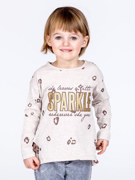 Beżowa bawełniana bluzka dziewczęca z nadrukiem i kokardkami                              zdj.                              1