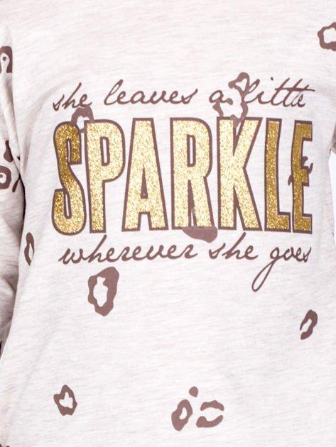 Beżowa bawełniana bluzka dziewczęca z nadrukiem i kokardkami                              zdj.                              2