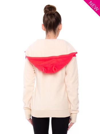 Beżowa bluza polarowa z kapturem z uszkami                                  zdj.                                  3