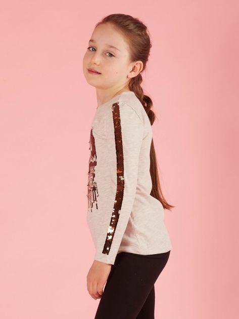 Beżowa bluzka dziecięca z cekinami                              zdj.                              3