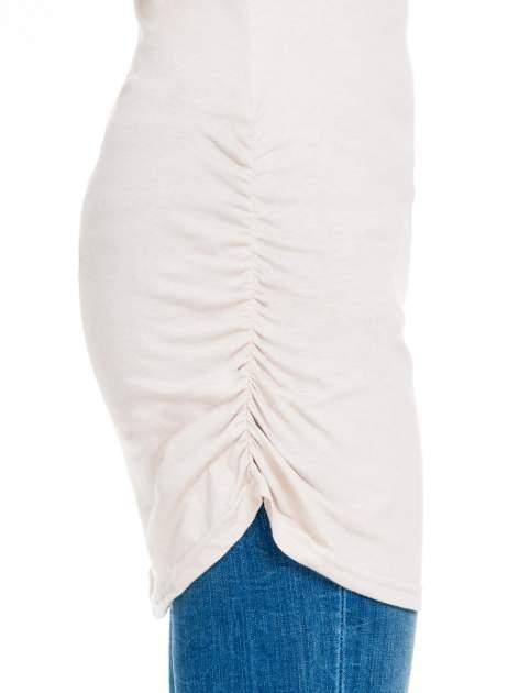 Beżowa bluzka tunika z marszczonym dołem                                  zdj.                                  7