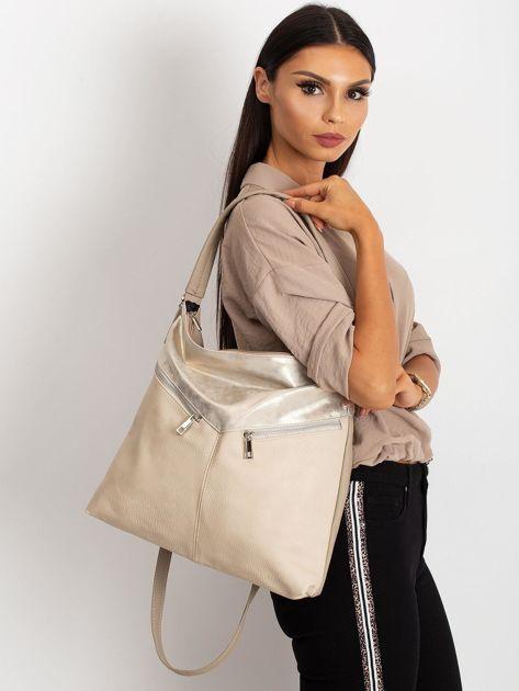 Beżowa damska torba z ekoskóry                              zdj.                              1