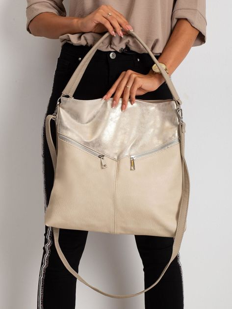 Beżowa damska torba z ekoskóry                              zdj.                              4