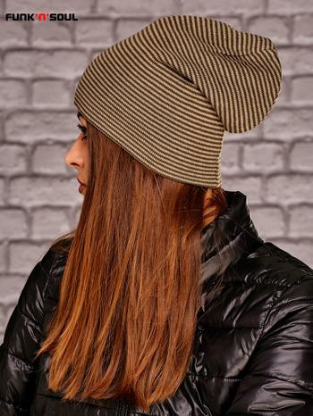 Beżowa dwustronna czapka w paski FUNK N SOUL                              zdj.                              5