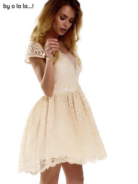 Beżowa koronkowa sukienka z siateczkową wstawką BY O LA LA                                  zdj.                                  4