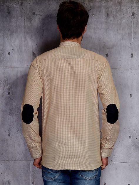 Beżowa koszula męska w drobną kratkę PLUS SIZE                              zdj.                              2