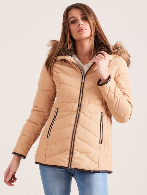 Beżowa kurtka zimowa z futrzanym kapturem i kołnierzem                                  zdj.                                  7