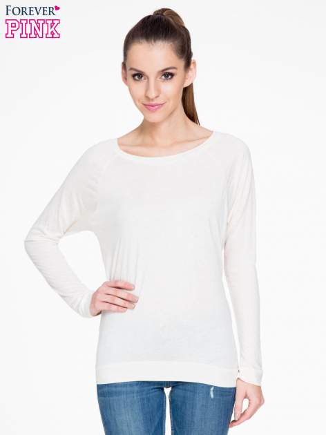 Beżowa melanżowa bawełniana bluzka z rękawami typu reglan                                  zdj.                                  1