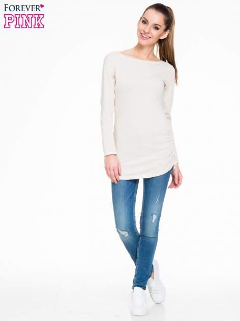 Beżowa melanżowa bluzka tunika z marszczonym dołem                                  zdj.                                  2