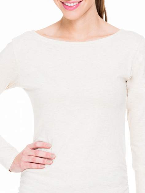 Beżowa melanżowa bluzka tunika z marszczonym dołem                                  zdj.                                  5