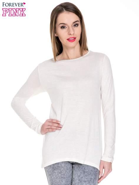 Beżowa melanżowa bluzka z dłuższym tyłem                                  zdj.                                  1