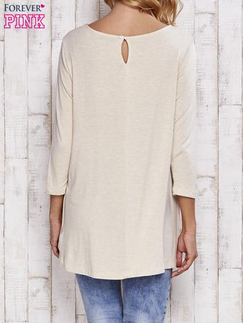 Beżowa melanżowa bluzka z łezką na plecach                                  zdj.                                  4