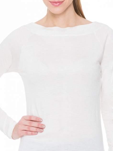 Beżowa melanżowa gładka bluzka z reglanowymi rękawami                                  zdj.                                  5