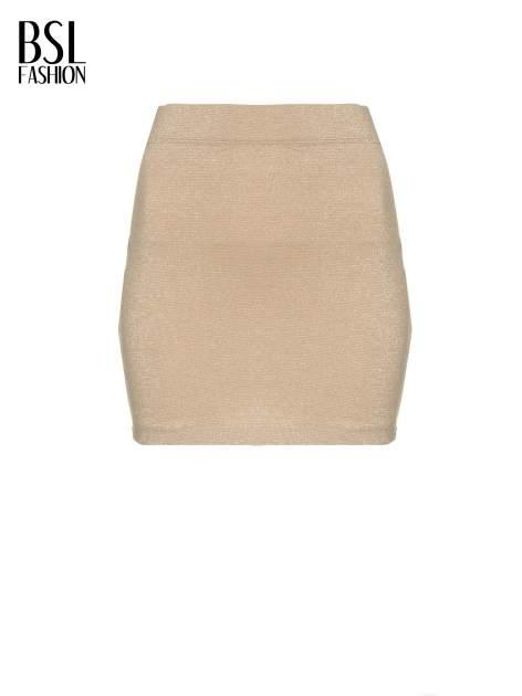 Beżowa mini spódniczka przeplatana złotą nicią                                  zdj.                                  5
