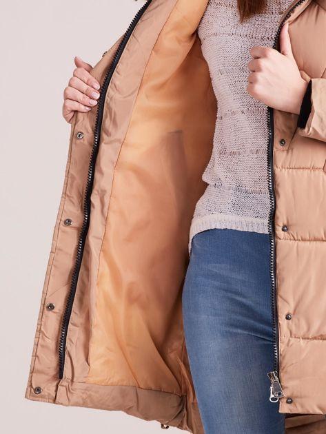 Beżowa pikowana kurtka na zimę                              zdj.                              7