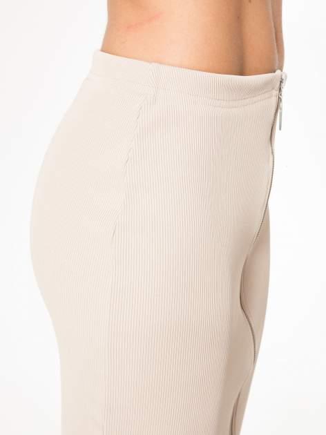 Bezowa spódnica midi z suwakiem z przodu                                  zdj.                                  9