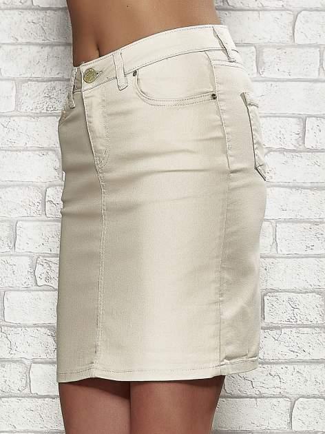 Beżowa spódnica z zapięciem na guzik                                  zdj.                                  5