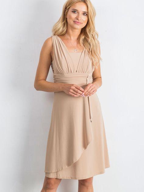Beżowa sukienka Decorative                              zdj.                              1