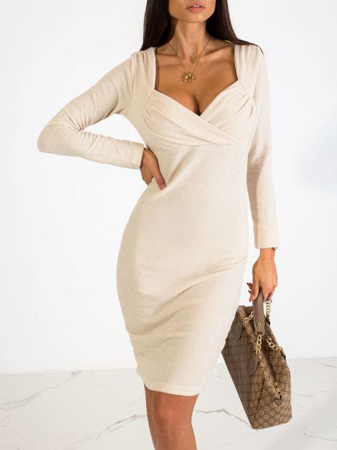 Beżowa sukienka Swan                              zdj.                              5