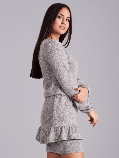 Szaro-beżowa sukienka damska z falbaną                              zdj.                              3