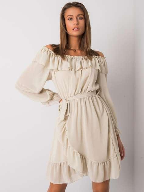 Beżowa sukienka hiszpanka Farren OCH BELLA