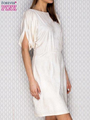 Beżowa sukienka koktajlowa z szerokimi rękawami PLUS SIZE                              zdj.                              3