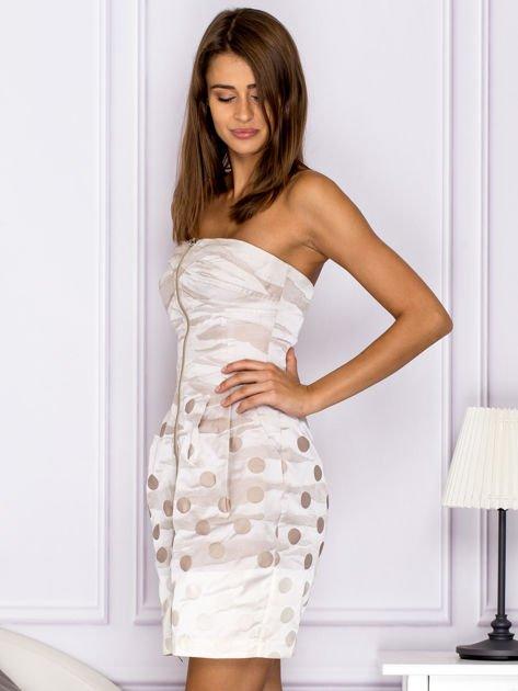 Beżowa sukienka w grochy                               zdj.                              5