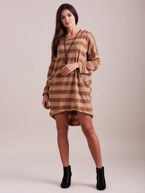 Beżowa sukienka w paski                              zdj.                              1