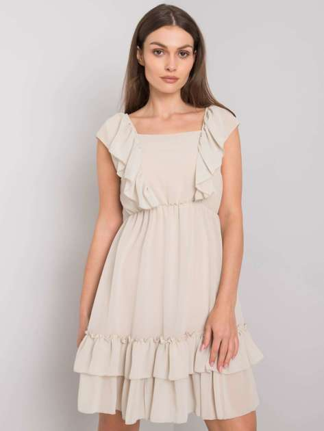 Beżowa sukienka z falbanami Safina