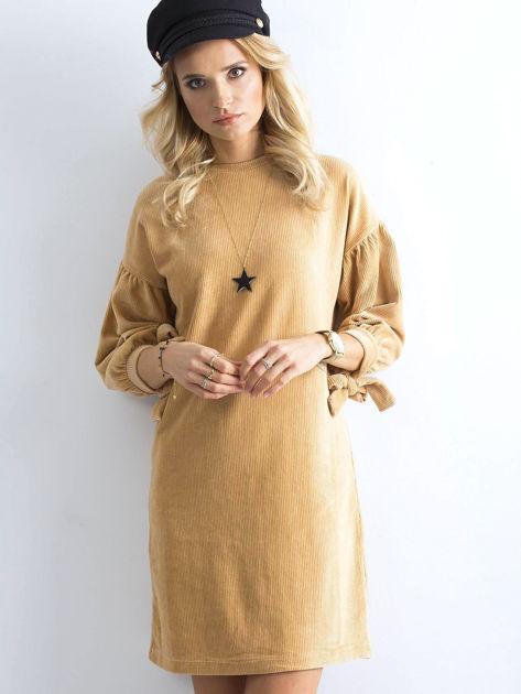 Beżowa sztruksowa sukienka                              zdj.                              7