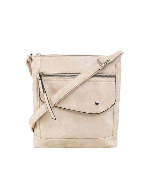Beżowa torba damska na ramię z ekoskóry