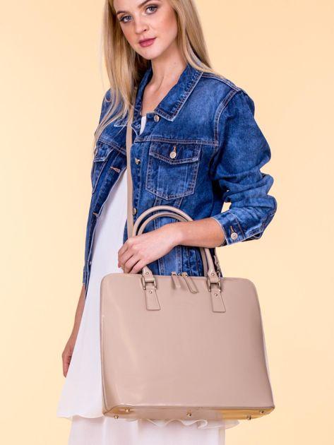 Beżowa torba damska z odpinanym paskiem
