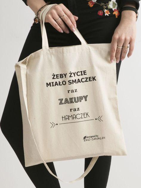 Beżowa torba ekologiczna z bawełny z napisem                              zdj.                              1