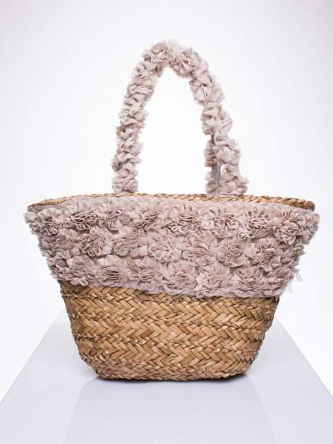 Beżowa torba koszyk plażowy z ozdobnymi kwiatami                                  zdj.                                  1
