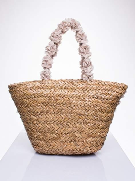 Beżowa torba koszyk plażowy z ozdobnymi kwiatami                                  zdj.                                  3