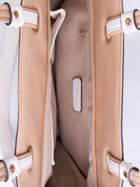 Beżowa torba shopper bag z ozdobnymi ćwiekami                                  zdj.                                  4