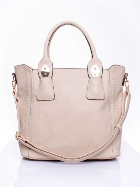 Beżowa torba shopper ze stębnowaniem                                  zdj.                                  1