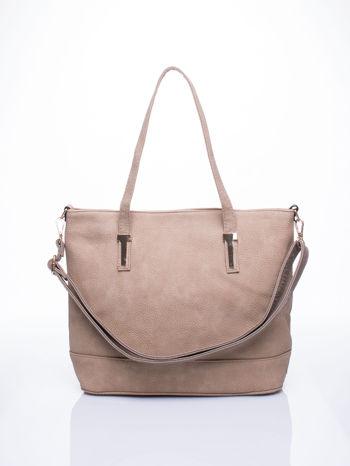 Beżowa torba shopperka z odczepianym paskiem                                   zdj.                                  1